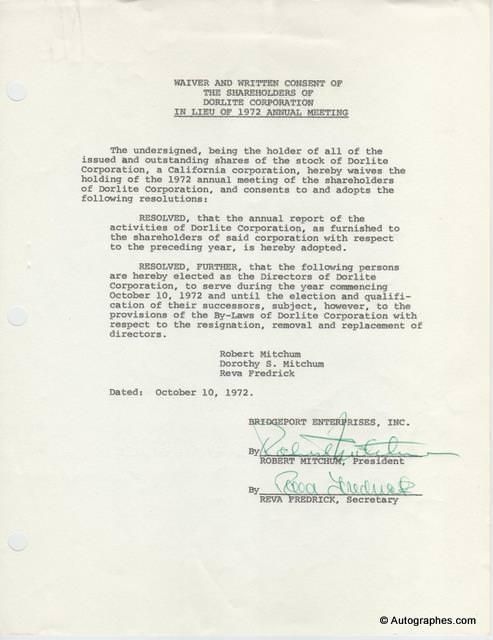 Robert MITCHUM - Document signé (1972)