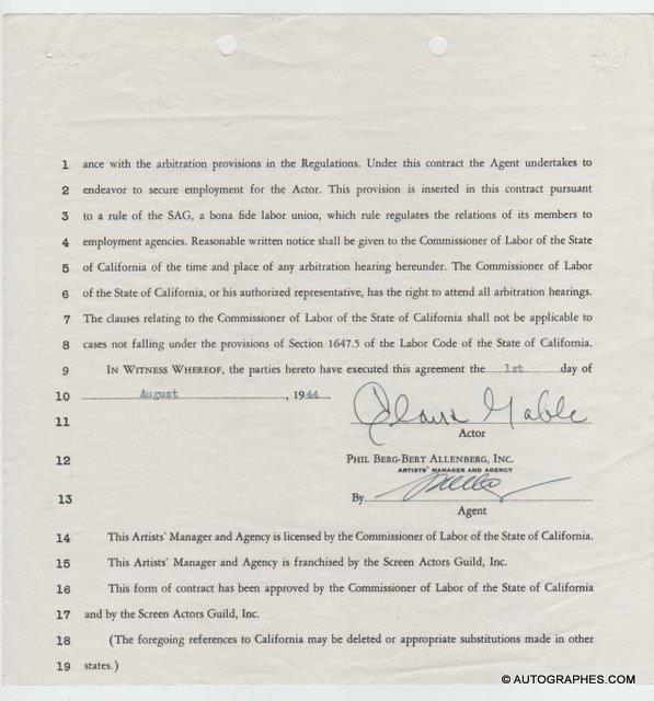 Clark GABLE -  Contrat signé le 1er août 1944 (dernière page)