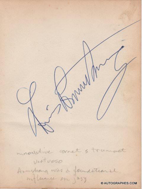 Louis ARMSTRONG - Très grande signature autographe