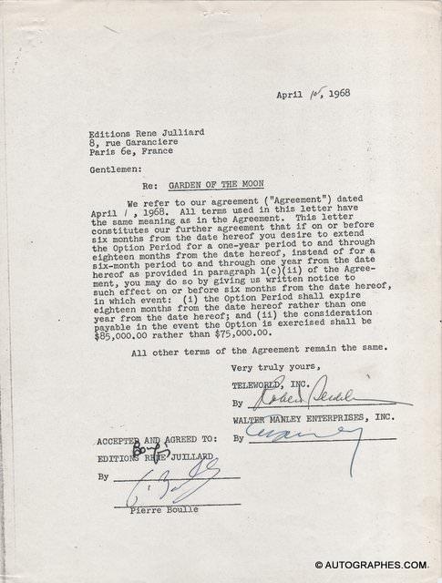 Pierre BOULLE - Document signé (Le Jardin de Kanashima / 1968)
