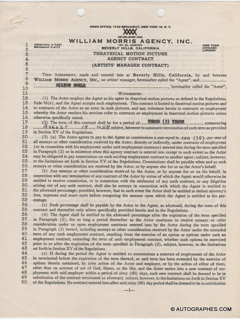 Milton BERLE Mr Television - Contrat signé (1958)