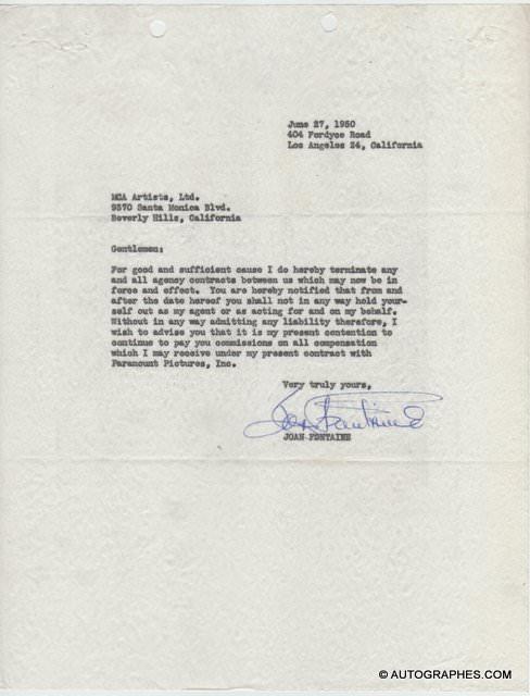 Joan FONTAINE - Lettre dactylographiée signée (1950)