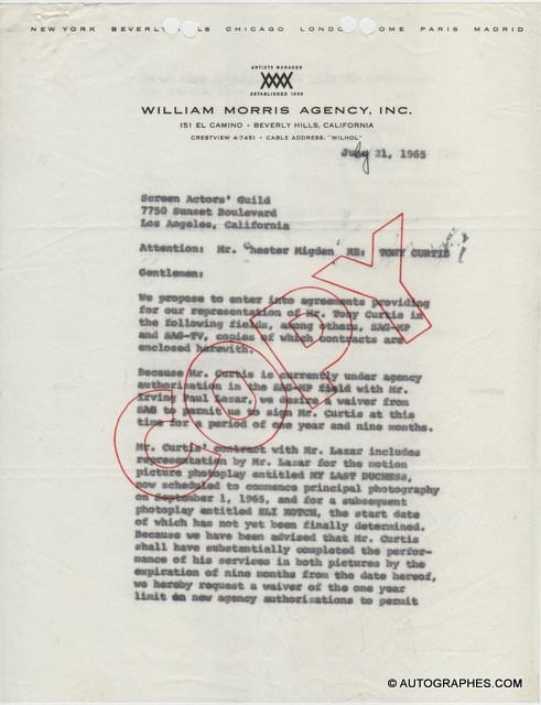 Tony CURTIS - Lettre dactylographiée signée (1965)