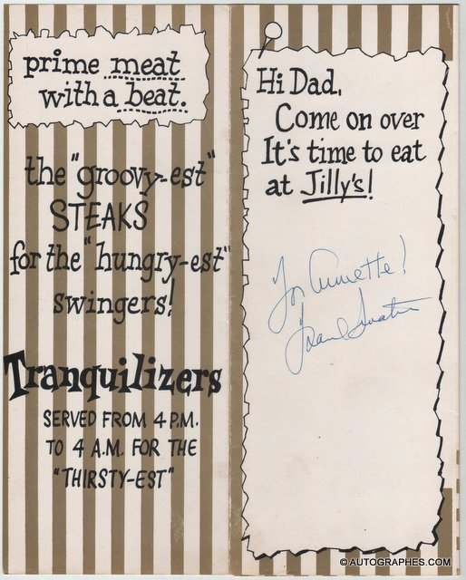 Frank SINATRA - Menu du restaurant Jilly\'s dédicacé et signé