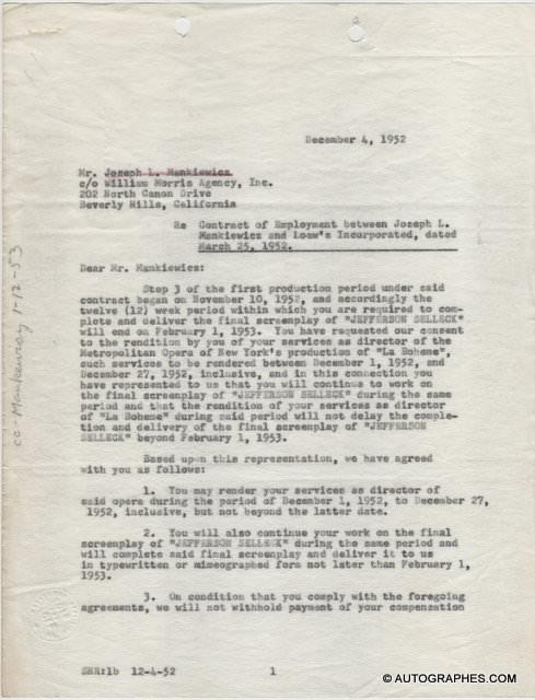 Joseph L. MANKIEWICZ - Lettre dactylographiée signée (La Bohème / Metropolitan Opera)