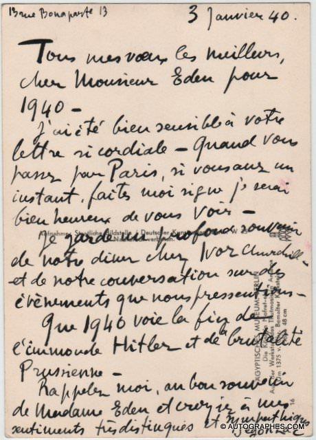 André DUNOYER DE SEGONZAC - Carte postale autographe signée à propos d\'HITLER (1940)