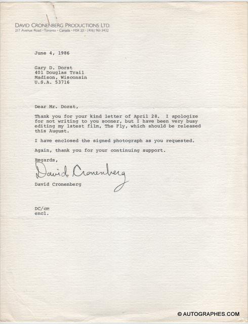 David CRONENBERG - Lettre dactylographiée signée (La Mouche / The Fly)