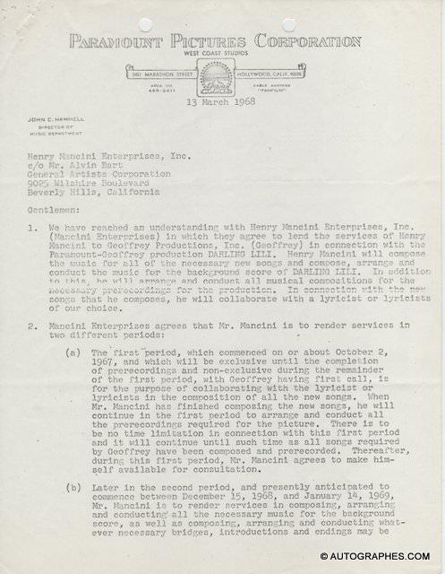 Henry MANCINI - Contrat signé (Darling Lili / 1968)