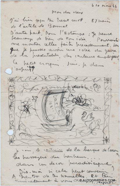 Raymond PEYNET - Lettre autographe signée illustrée d\'un croquis des amoureux (11 mars 1944)