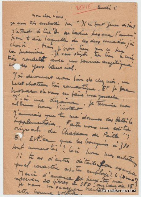 Raymond PEYNET - Lettre autographe signée (MUSSET / LABICHE)