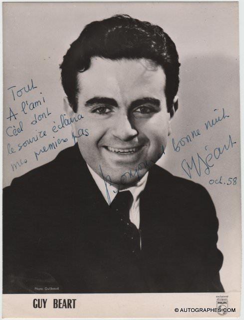 Guy BEART - Photographie grand format dédicacée et signée (1958)