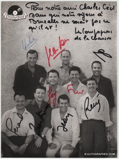 LES COMPAGNONS DE LA CHANSON - Photographie grand format dédicacée et signée (années 60)