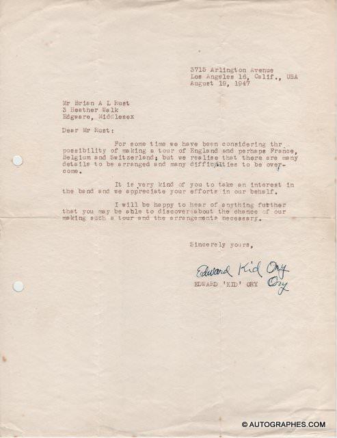 Edward Kid ORY - Lettre dactylographiée signée (1947)
