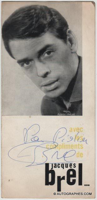 Jacques BREL - Dédicace autographe signée sur le dépliant d\'un concert