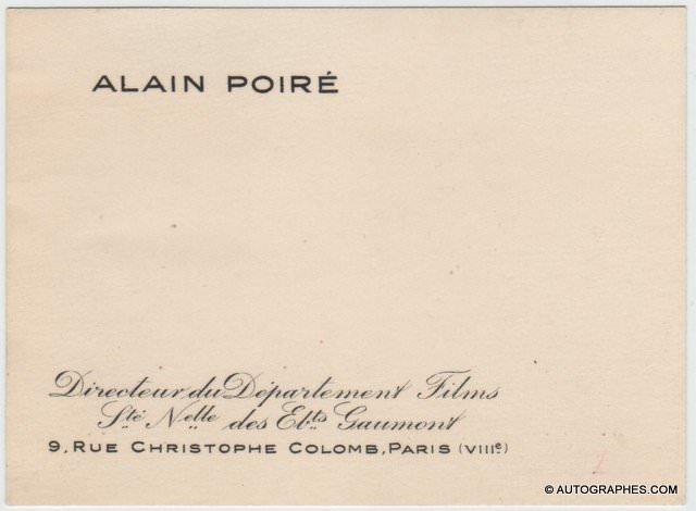 Alain POIRÉ - Carte de visite vierge (Gaumont / années 50)