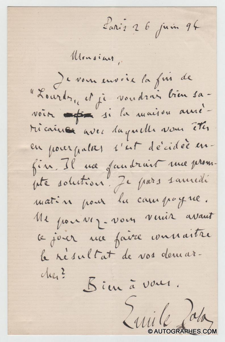 lettre-autographe-signee-emile-zola-roman-lourdes-1894