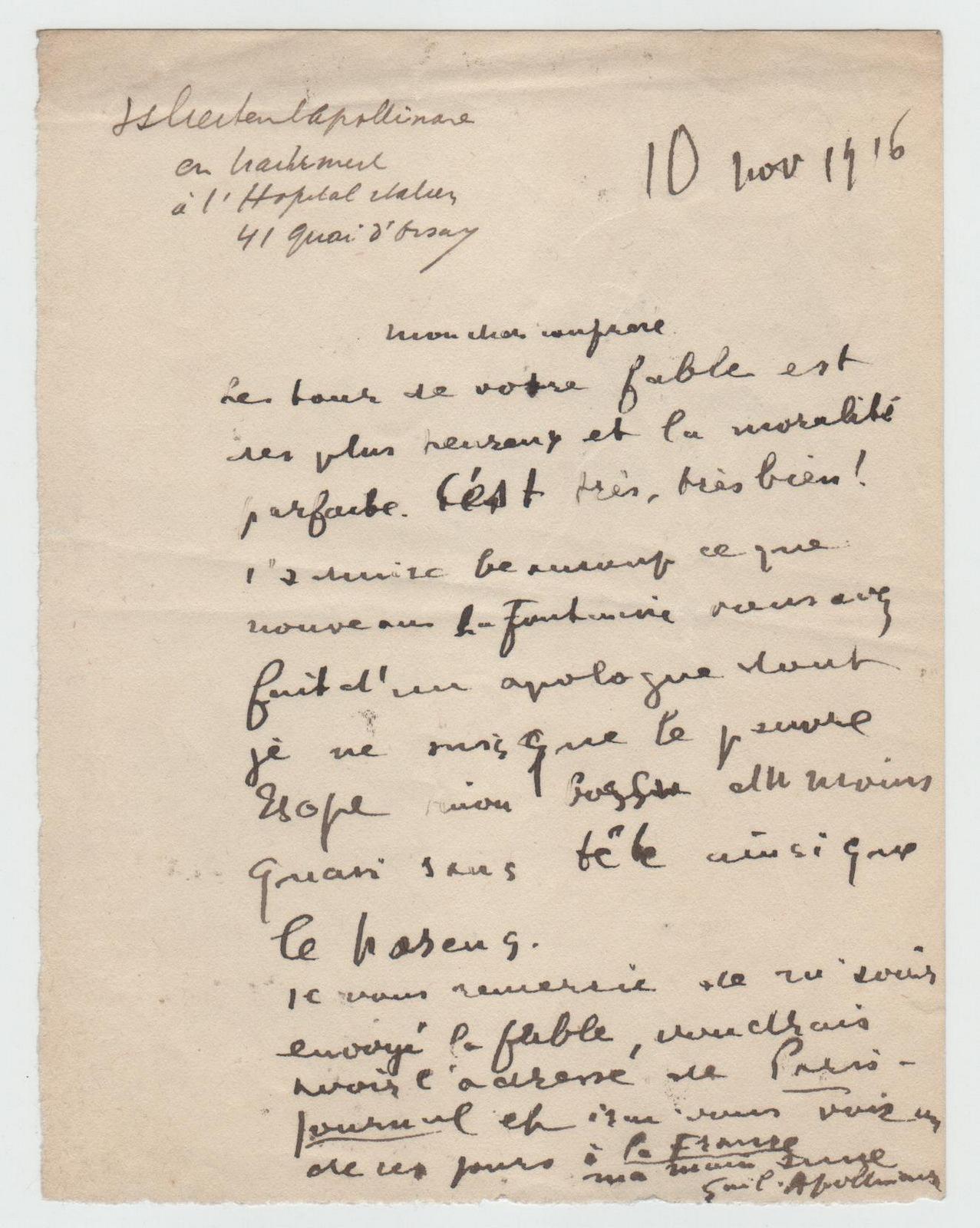 Guillaume APOLLINAIRE - Lettre autographe signée au poète GUILLOT DE SAIX (La Fontaine / Esope)