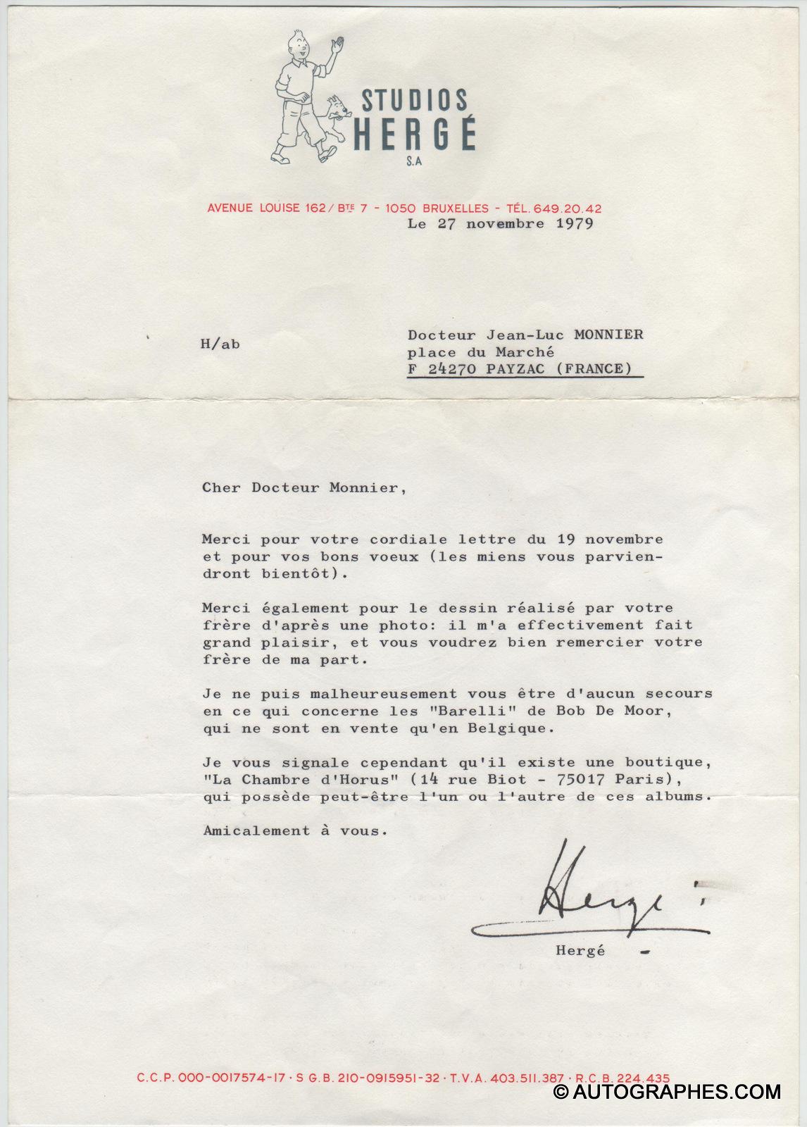 lettre-dactylographiee-signee-herge-bob-de-moor-1975
