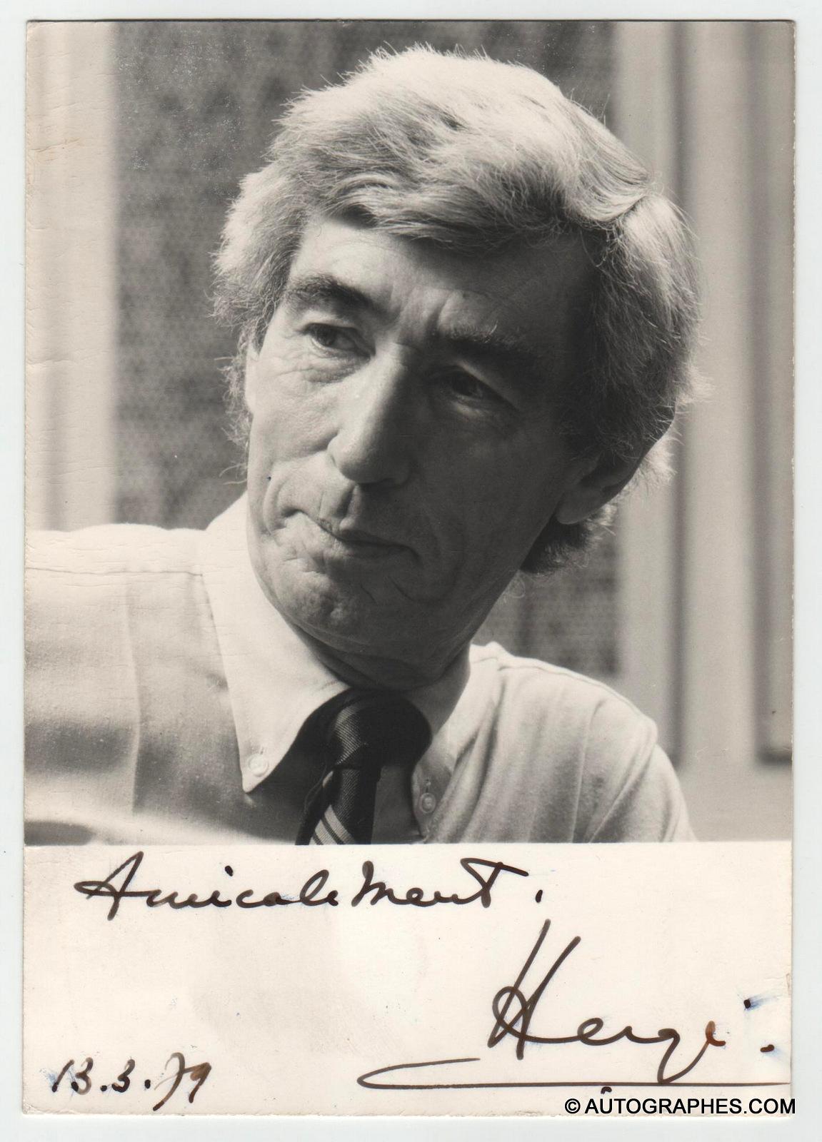 HERGE - Portrait photographique dédicacé signé