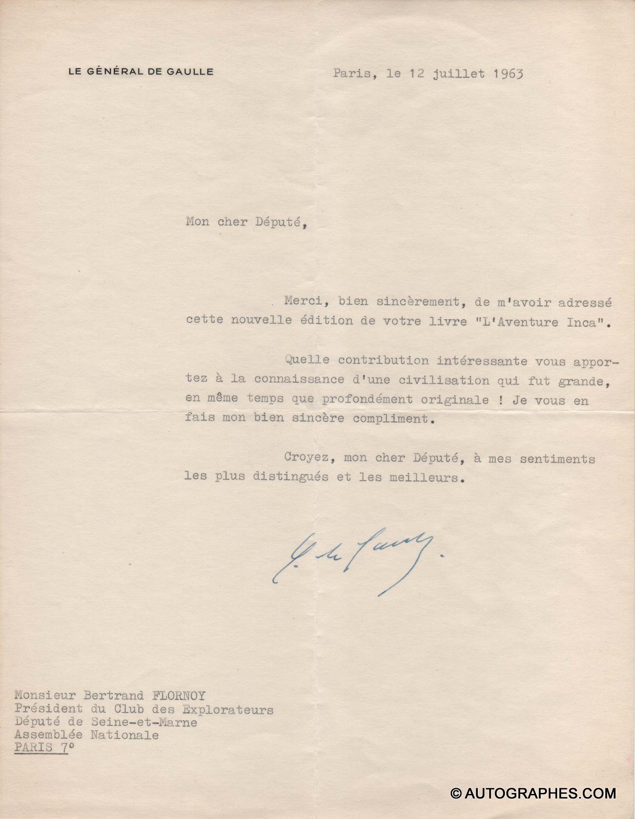 Lettre-dactylographiee-signee-general-de-gaulle-1963