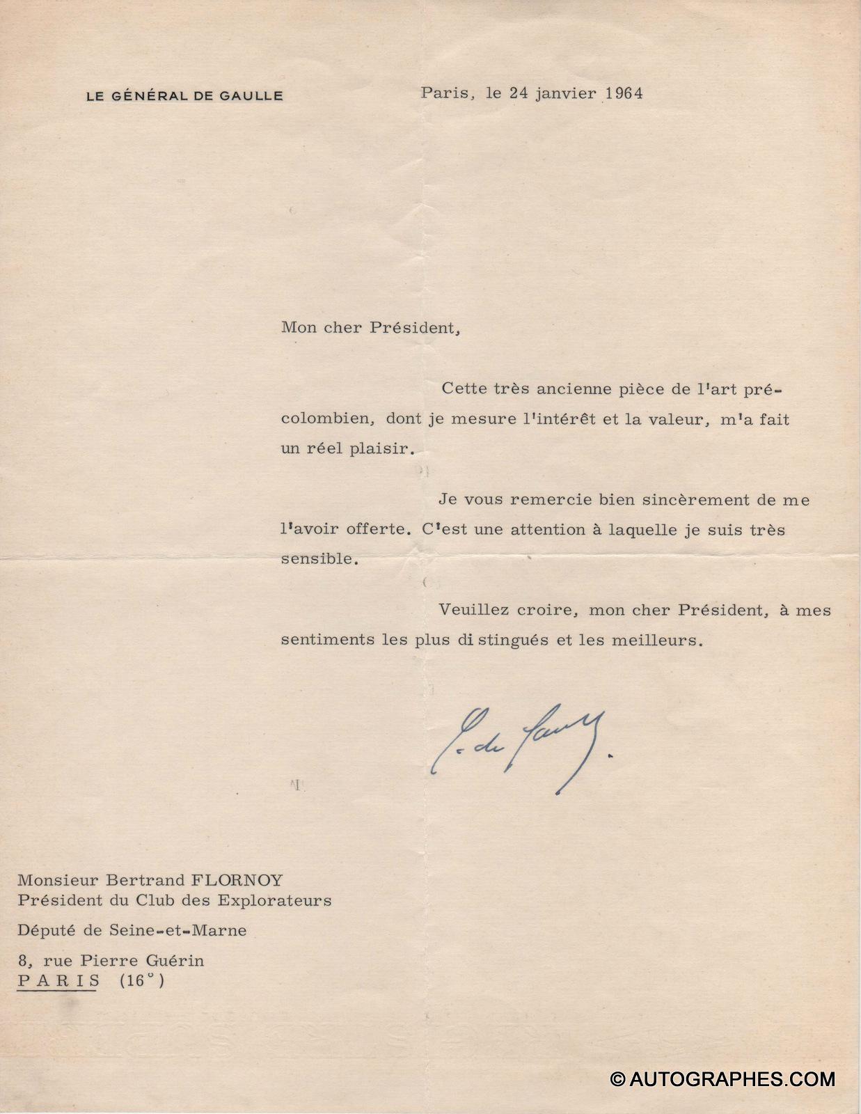 Charles de GAULLE - Lettre dactylographiée signée (24 janvier 1964)