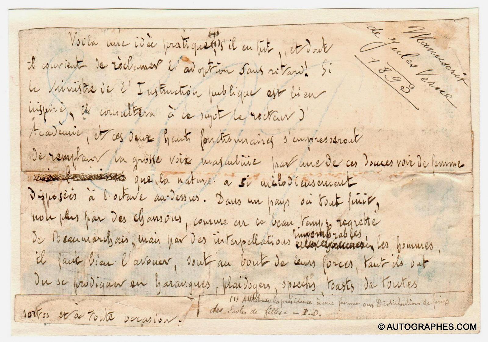 manuscrit-autographe-jules-vernes 1893