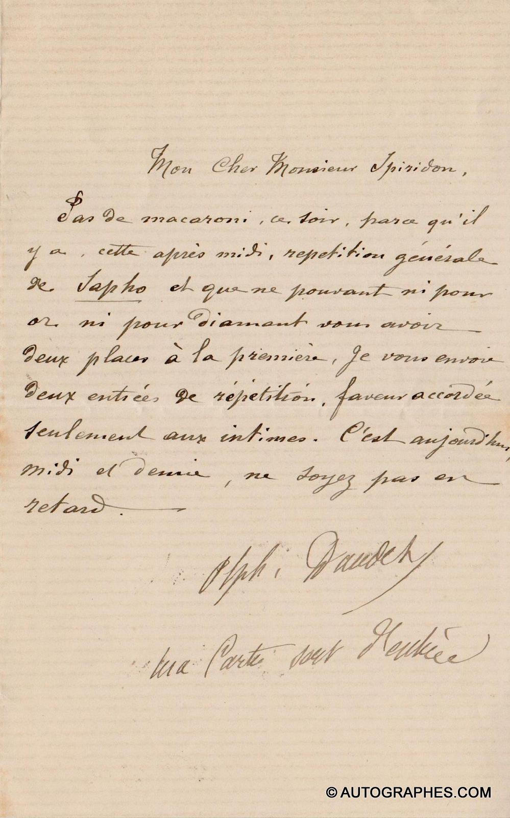 Alphonse DAUDET - Lettre autographe signée (répétition générale de Sapho)