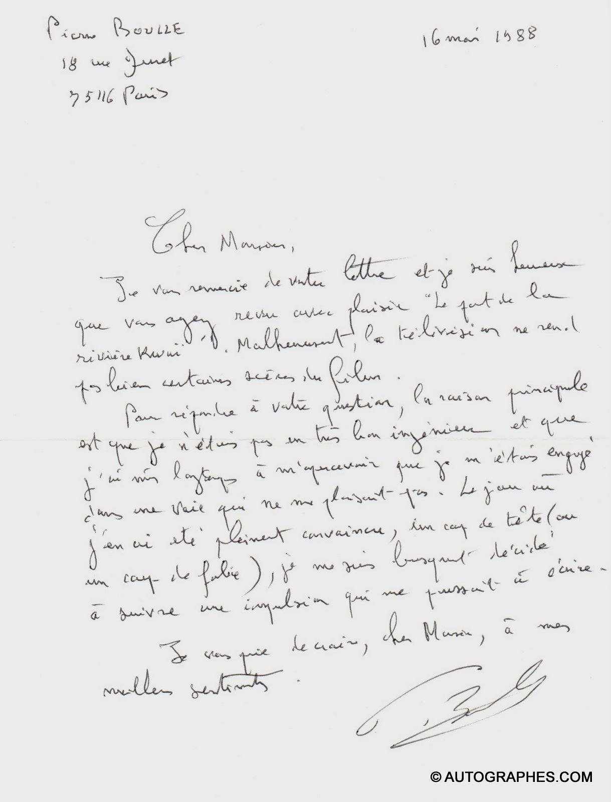 Pierre BOULLE - Lettre autographe signée (16 mai 1988)