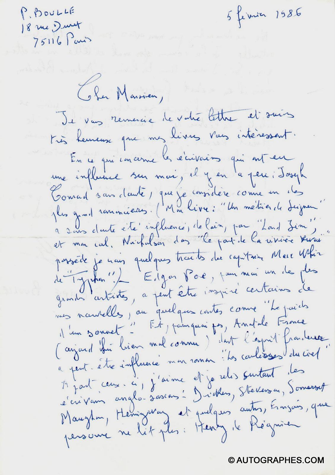 Pierre BOULLE - Lettre autographe signée à propos de ses influences littéraires (5 février 1986)