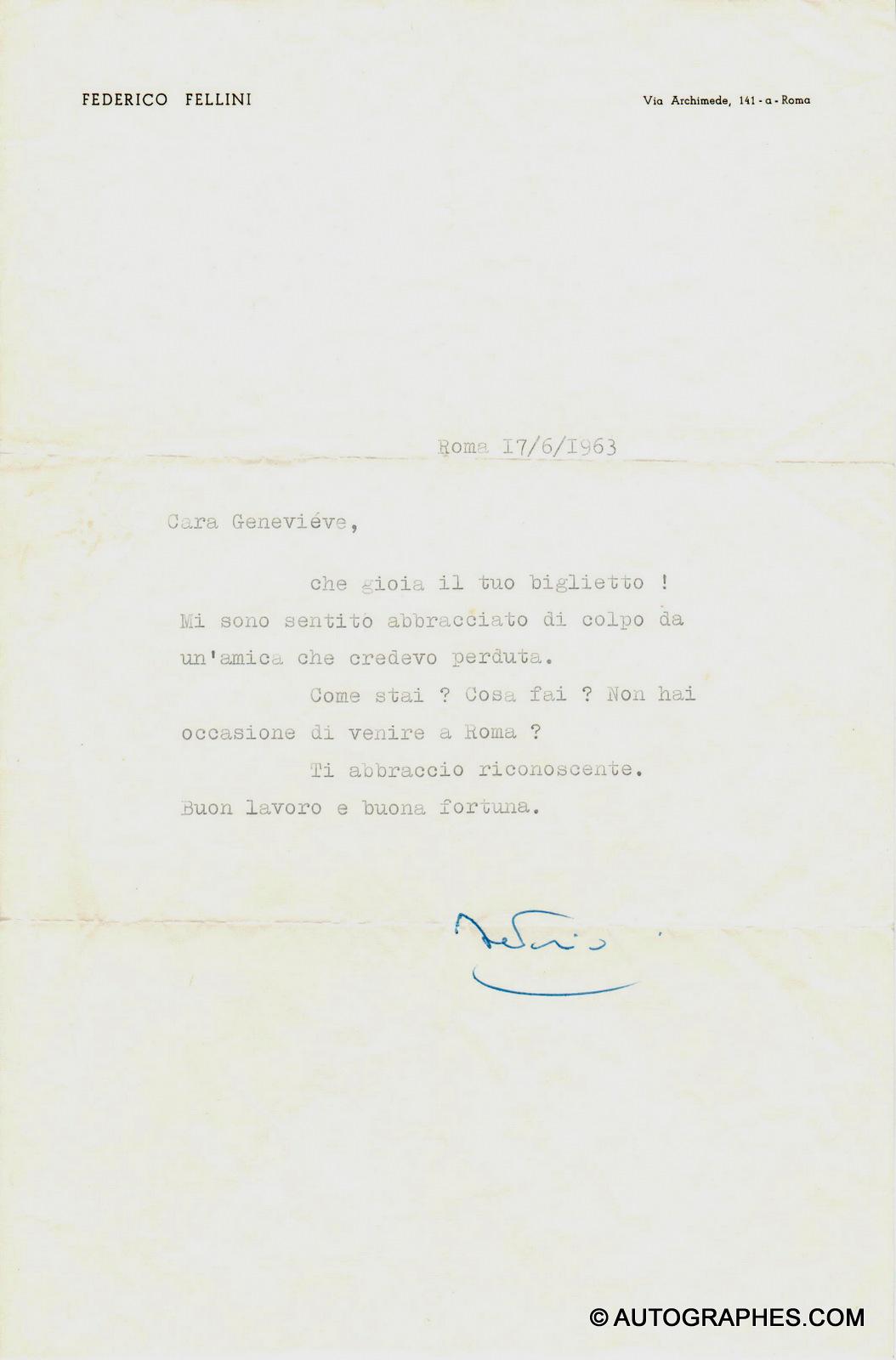 Federico FELLINI - Lettre dactylographiée signée (17 juin 1963)