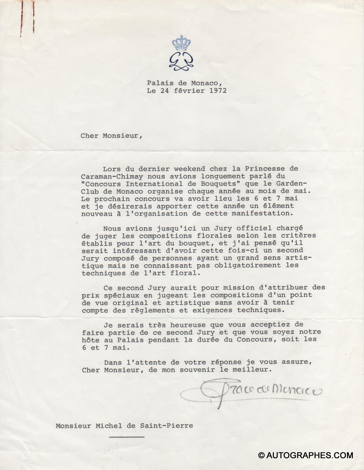 lettre-dactylographiee-signe-princesse-grace-de-monaco-1972