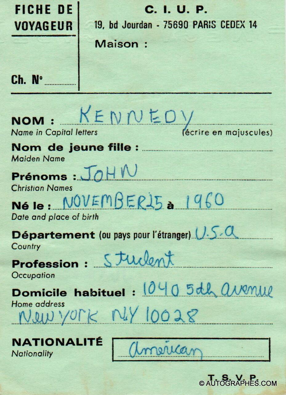 John Fitzgerald KENNEDY Jr. (John-John) - Document autographe signé (26 juin 1973)