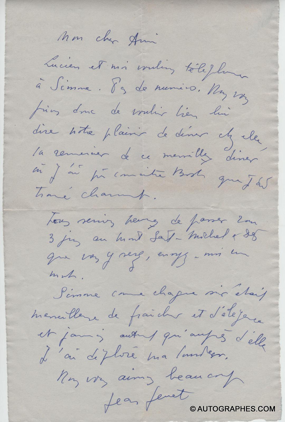 Jean GENET - Lettre autographe signée