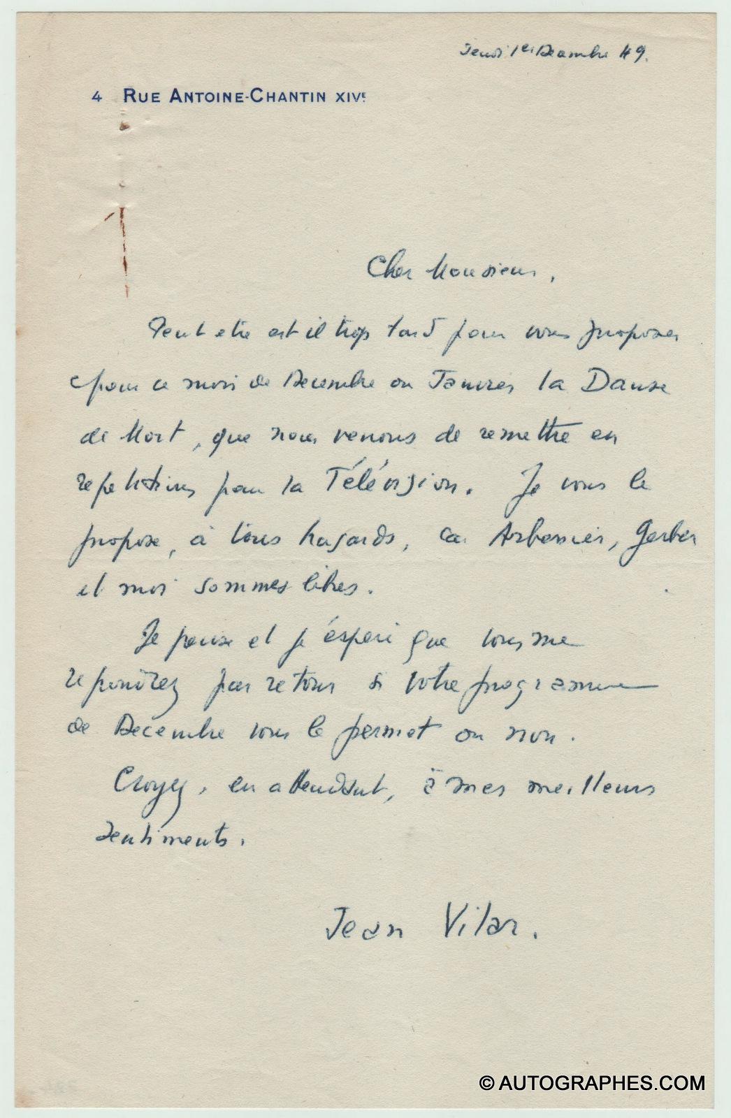 Jean VILAR - Lettre autographe signée (1er décembre 1949)