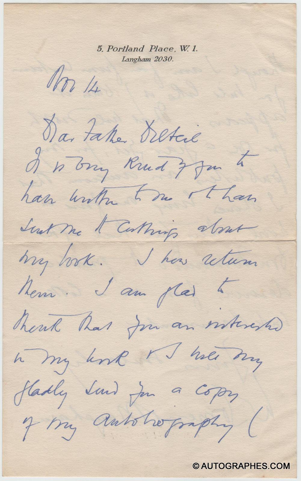 William Somerset MAUGHAM - Lettre autographe signée à l\'abbé DELTEIL (14 novembre 1935)