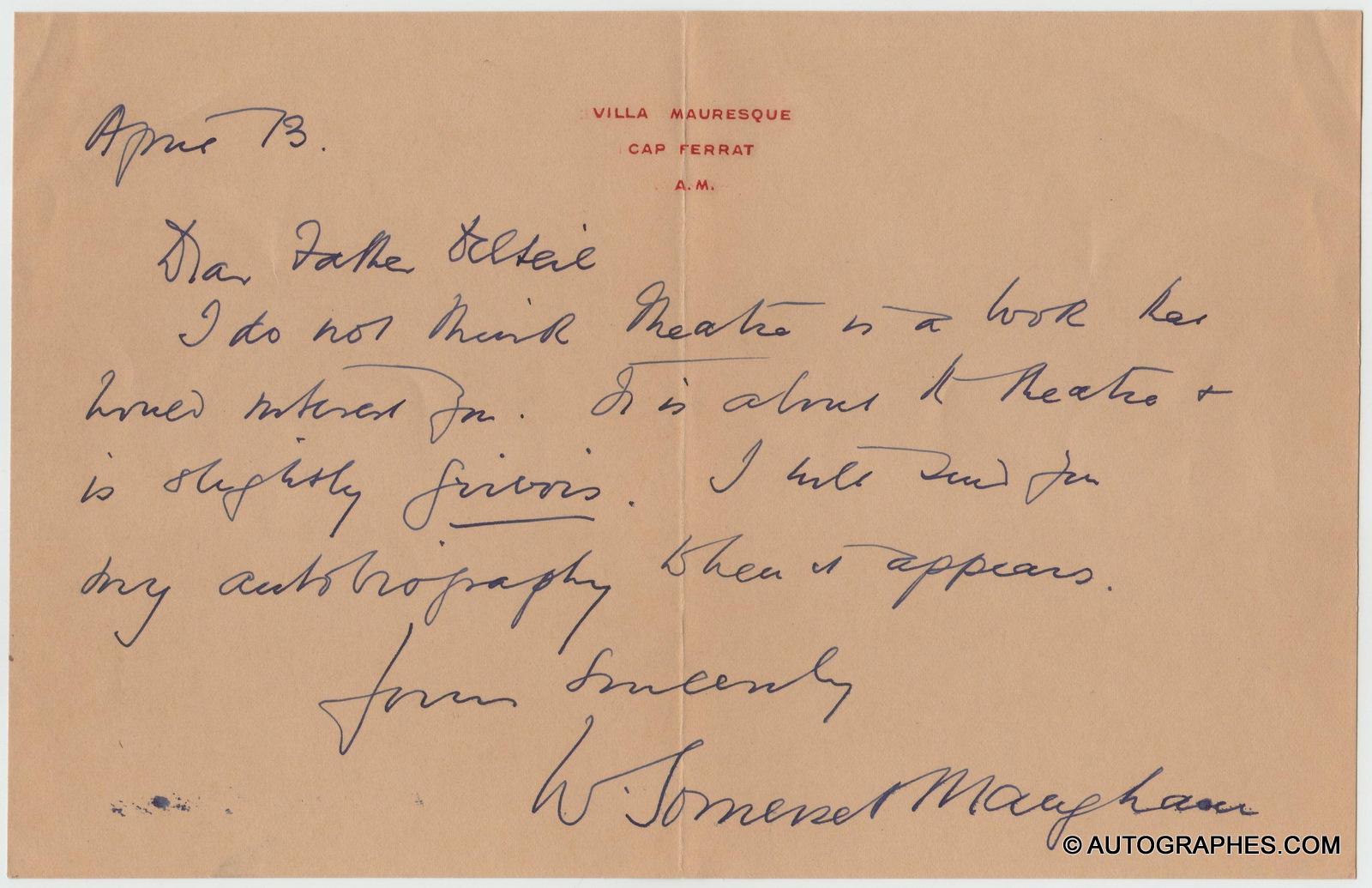 William Somerset MAUGHAM - Lettre autographe signée à l\'abbé DELTEIL (13 avril 1935)