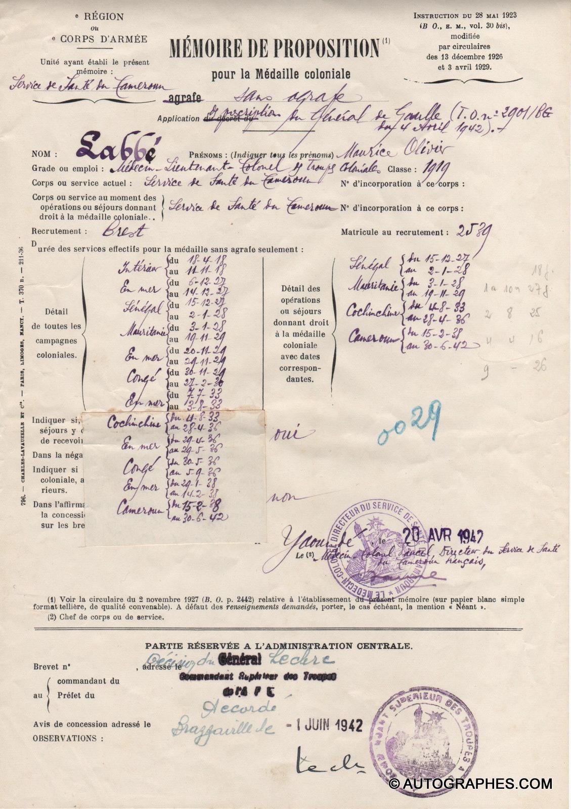Général LECLERC - Document signé (1er juin 1942)