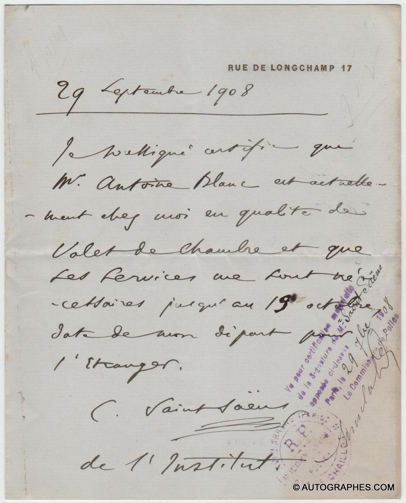 Camille SAINT-SAËNS - Document autographe signé