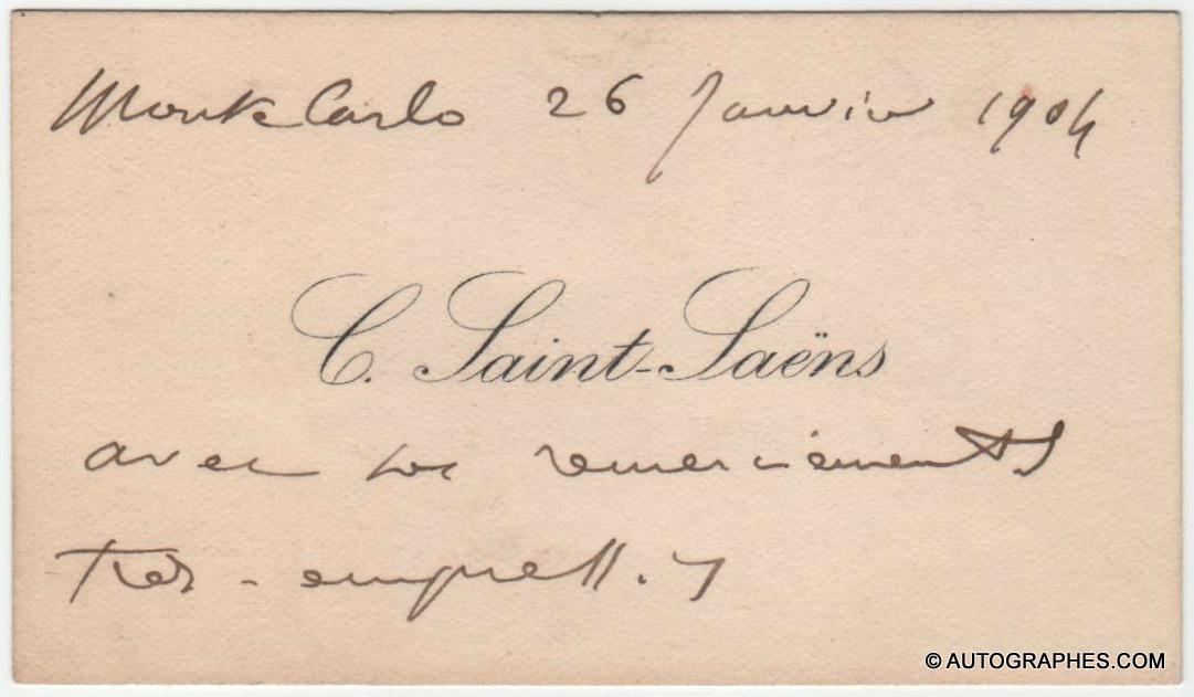 Camille SAINT-SAËNS - Carte de visite autographe signée