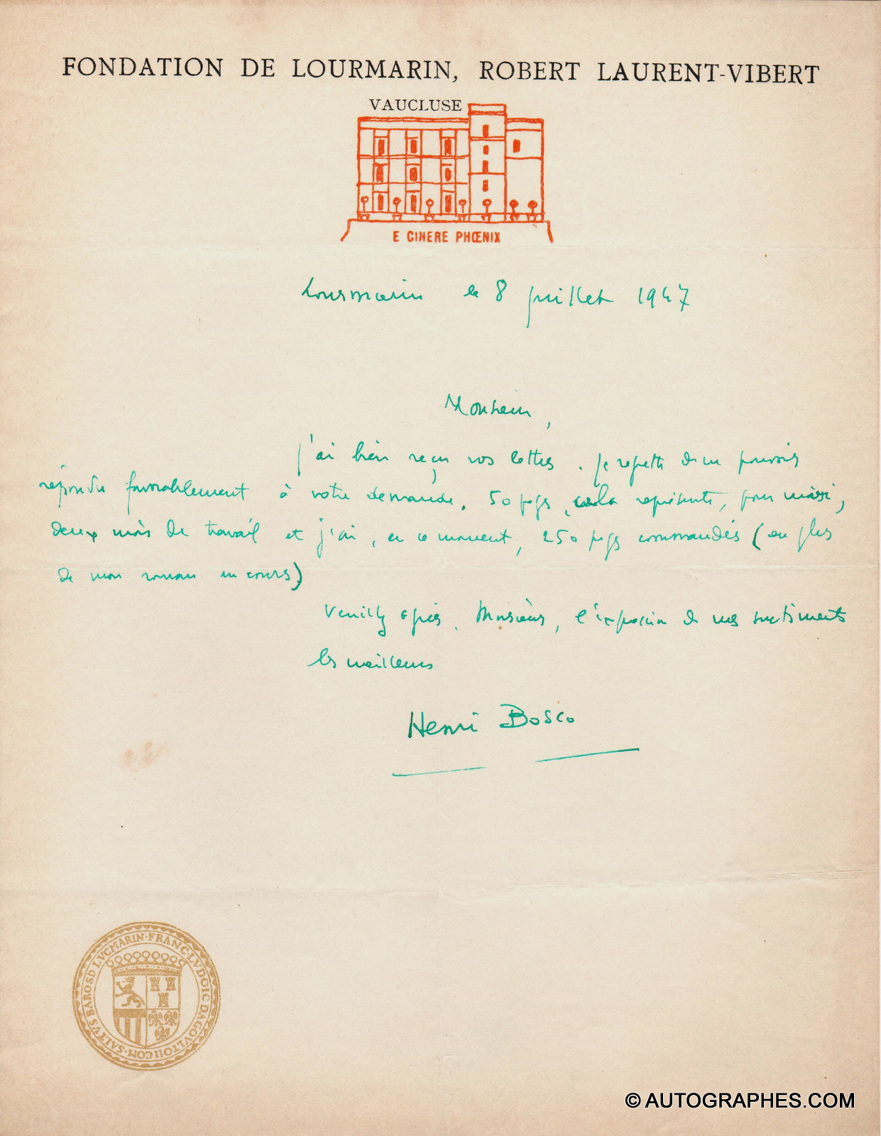 Henri BOSCO - Lettre autographe signée (Lourmarin 8 juillet 1947)