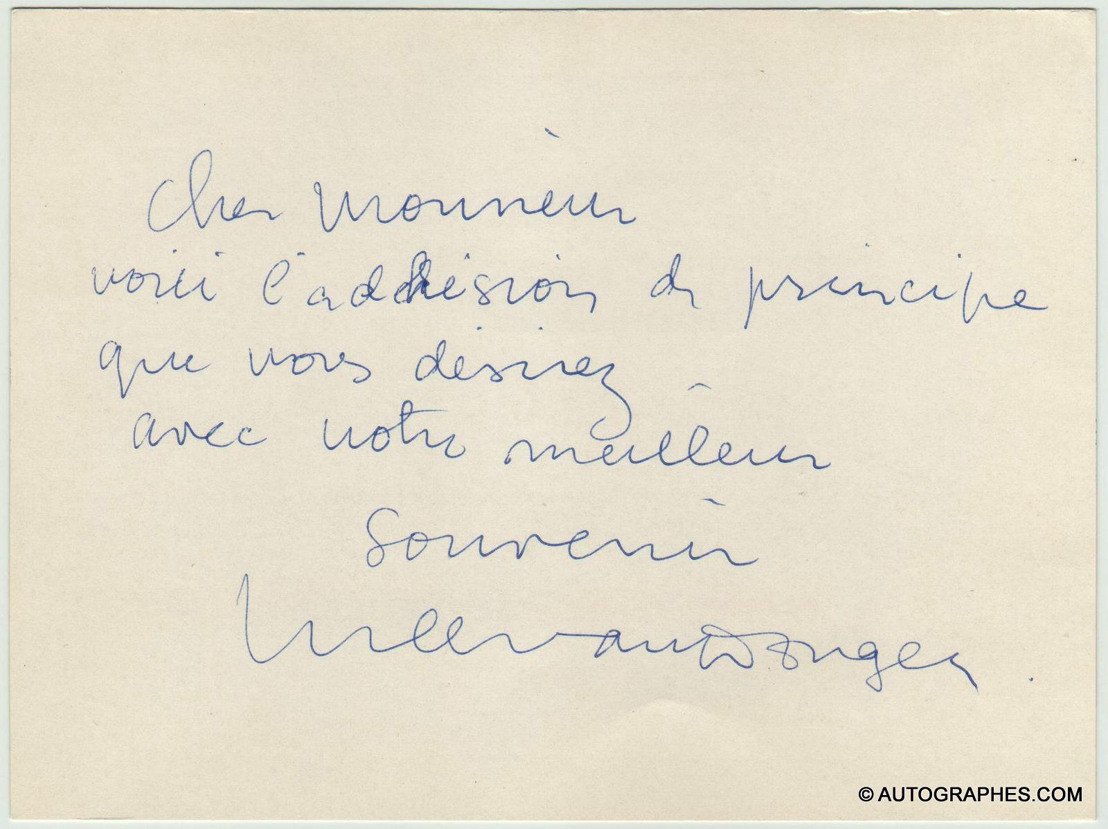 Kees VAN DONGEN - Carte autographe signée (Brigitte Bardot aux yeux d\'autruche)
