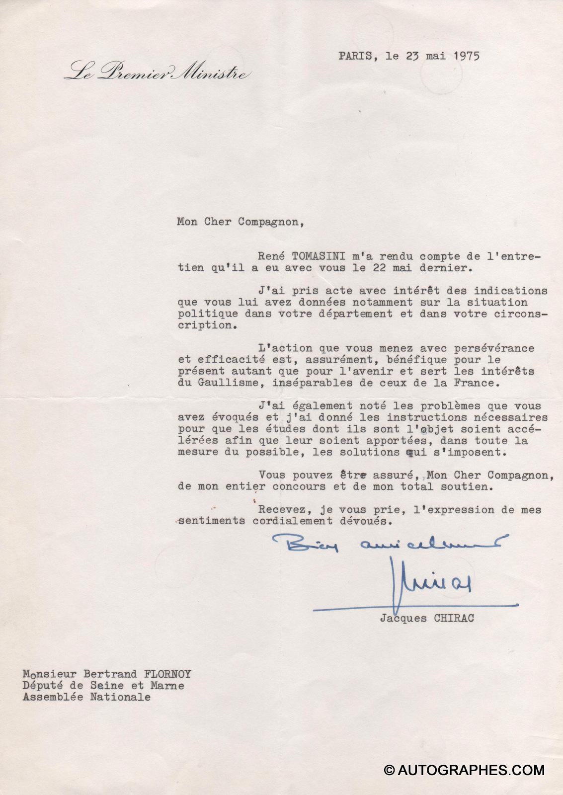 Jacques CHIRAC - Lettre dactylographiée signée (23 mai 1975)