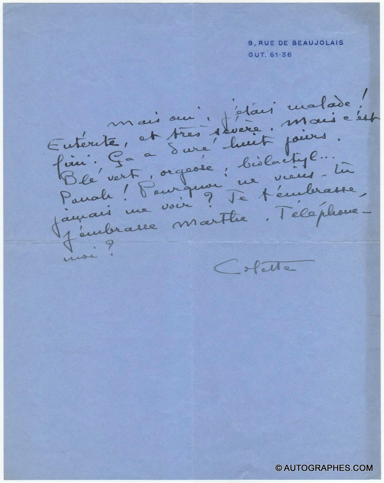 Sidonie-Gabrielle COLETTE - Lettre autographe signée