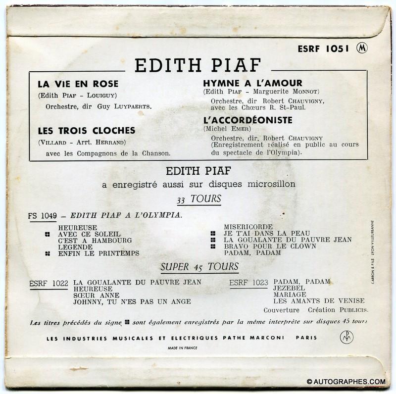 signature-autographe-edith-piaf-sur pochette-disque-super-45-tours-la-vie-en-rose-2