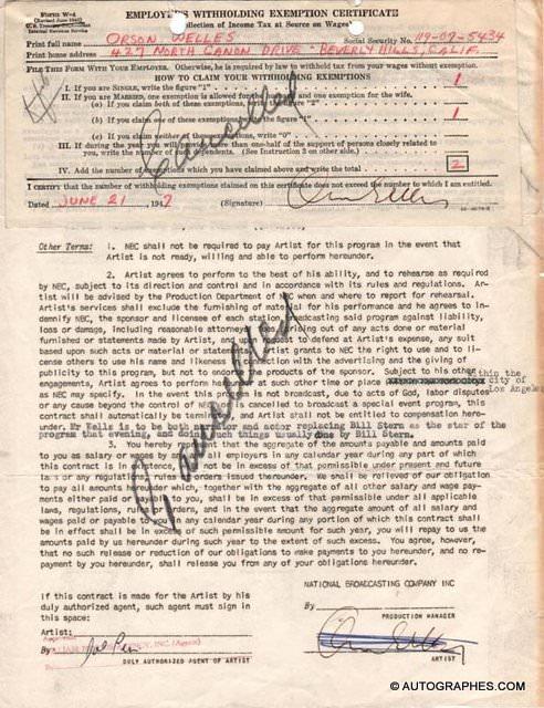 Orson WELLES - Contrat avec signature autographe + document fiscal signé (1947)