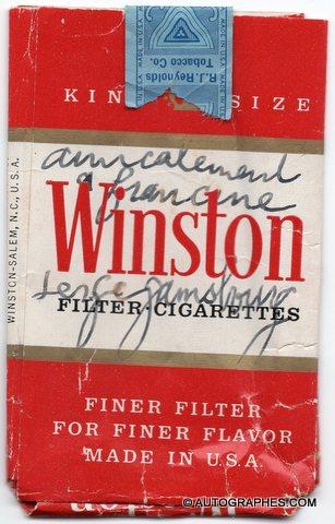 Serge GAINSBOURG - Paquet de cigarettes Winston dédicacé et signé