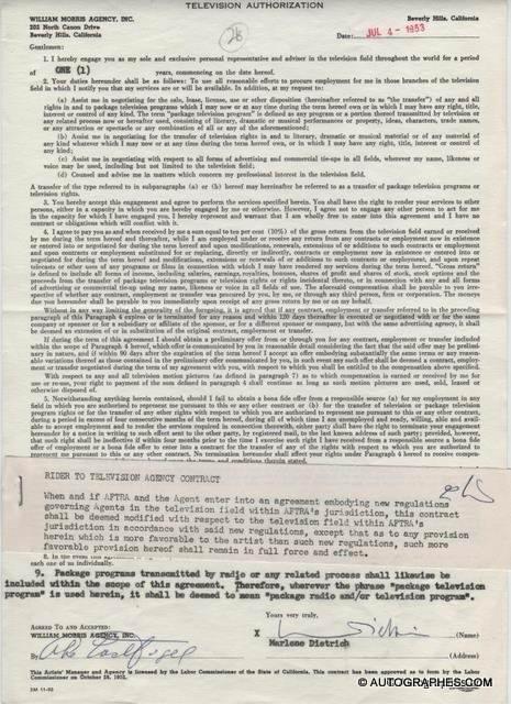 Marlene DIETRICH - Contrat avec signature autographe (1953)