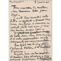 André DUNOYER DE SEGONZAC - Carte postale autographe signée (HITLER / 1940)