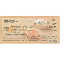 David HOCKNEY - Chèque autographe signé (1991)