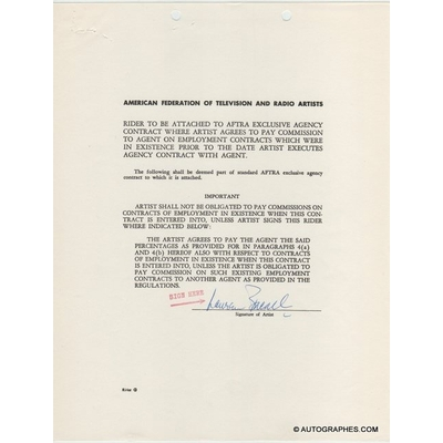 Lauren BACALL - Document avec signature autographe